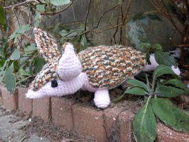 Angus the crochet armadillo sitting in his garden.