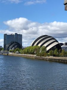 Photograph of the SECC Armadillo in Glasgow, Scotland.