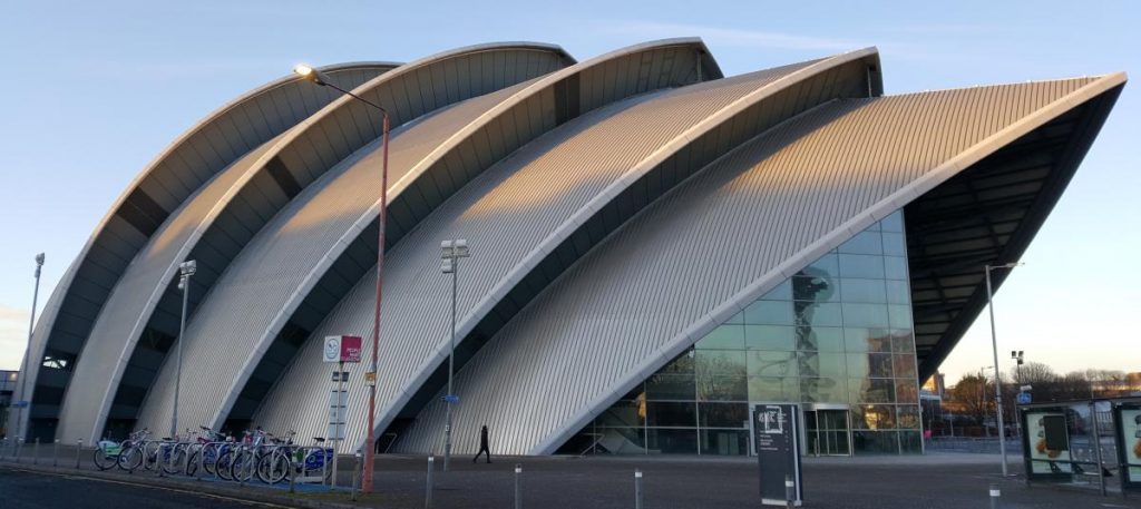 Armadillo Auditorium in Glasgow, showing the roof structure that inpired its name.