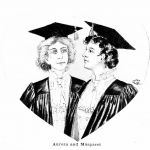 Picture shows a black and white image of two women, Margaret and Aurora the heroines Casparian's novel, of in academic cap and gown, one woman has black hair, the other blonde. They are looking at each other with affection. The image is framed in a heart shaped cut away.