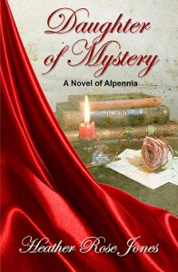 Image shows the cover of Heather Rose Jones's 'Daughter of Mystery - A Novel of Alpennia'. There is a flowing drape of red material the diagonally covers the left hand side of the book. On the right hand side in the background there is a small stack of books, a red candle burning low in an antique candle holder and a pink roles on top of some letters.