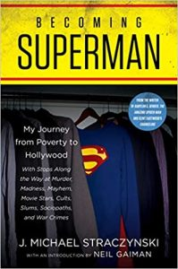 cover of Becoming Superman. shows superman costume hanging in wardrobe