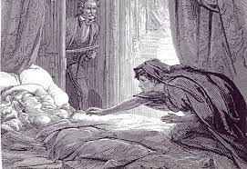 The image shows a black and white illustration from Le Fanu's Carmilla where a woman in shade, crawls across a bed to a woman asleep in a sunbeam. There is a man in the back of the image looking on in horror.