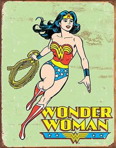 A drawing of the Wonder Woman character in the traditional comics style with the stylised name below it.