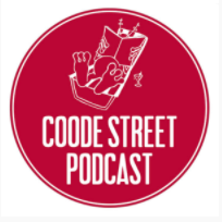 Coode Street PodCast comprising an alien figure reading a book
