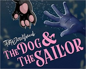The image shows a book cover with the title The Dog & The Sailor in bubblegum pink writing. There is also an illustrated dog's paw and human hand reaching toward each other.