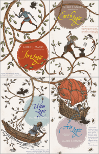 The image shows a collection of covers from Laurie J. Marks' 'Elemental Logic' series. The covers align so that the branches of a tree spread out across all of them.: in each image there is a figure undertaking action. In clockwise order these are - top right 'Earth logic': the figure in this image is hammering on an anvil; bottom right 'Air Logic': the figure in this image is in a hot air balloon that has become tangled in the branches; bottom left 'Water logic': the figure in this image is in a boat looking up at the branches; top left 'Fire logic': the figure in this image running along a branch with daggers drawn. There is a crow pictured somewhere in each picture.