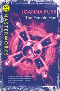 Image contains a cover version of The Female Man. The image is in purple and magenta tones, showing four identical replications of a woman, arms reaching forward as if spinning, hair out behind, in the centre there are a series of overlapping planets.
