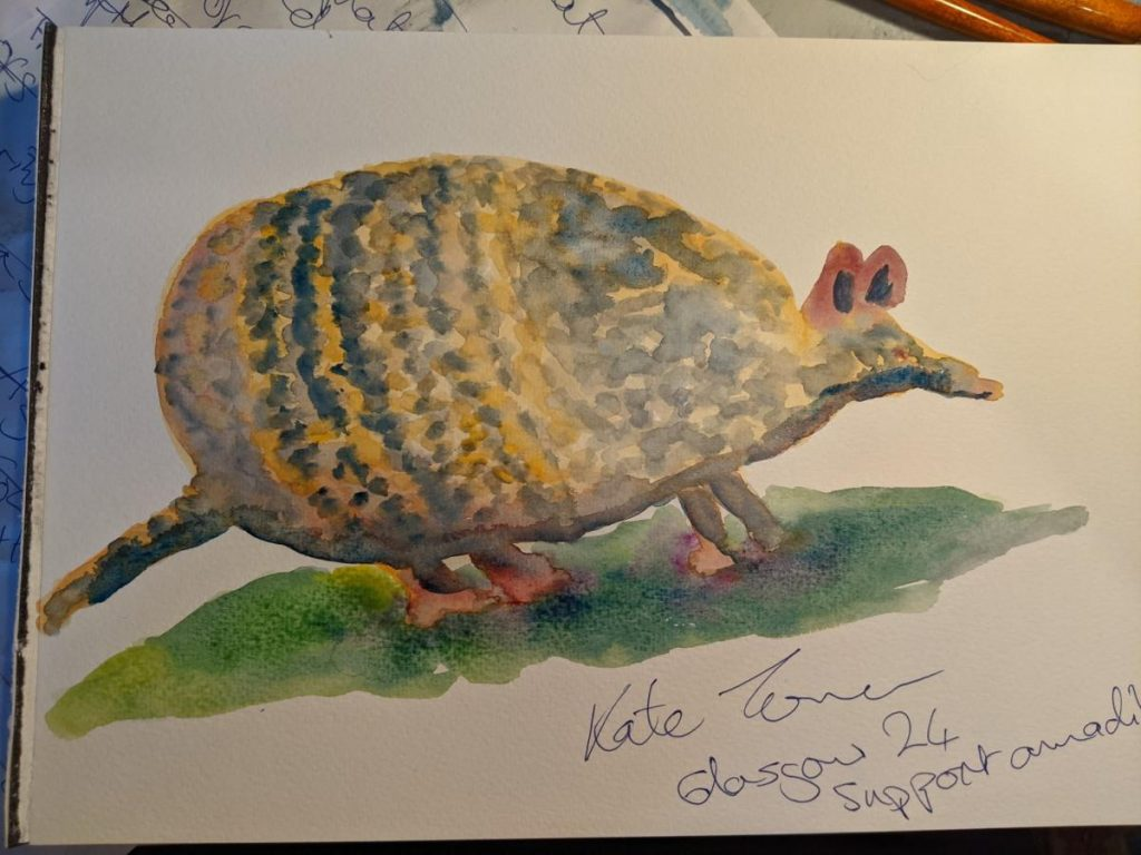 Armadillo painted in watercolours in yellows and greys.