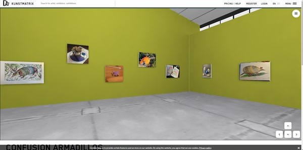 View of the virtual Gallery of Armadillos at ConFusion. The images are hung on light green walls, and the floor is grey.
