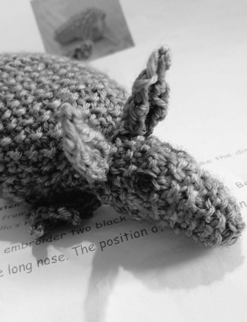 Greyscale image of the front half of a crocheted armadillo.