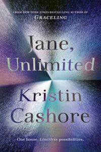The image shows the cover of Kristin Cashore's novel 'Jane Unlimited' The cover is a meltalic prismic style set of reflections in purples, silves and turquise. The title is rendreed in silver grey in the top hald and the authors name in the same style in the bottom half.
