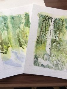 two watercolour paintings of forest scenes