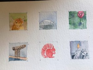 six small watercolour images of various motives