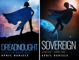 The image shows the covers of April Daniels' novels 'Dreadnought' and 'Sovereign'. Dreadnought is on the left and shows a feminine silhouetted in black standing on a black hillside. She is wearing a blue flowing cape that is blowing sideways to the left, and is looking towards a city skyline that is rendered in pastel pinks and greys. Above the city is a blue sky. The cover for 'Sovereign' is on the right. There is a similar silhouetted figure with a blue cape, however this time they are inspace, witht he light of the sun behind their head on the right, what looks to be the planet earth is on the left handside beanth their feet. they look like they have been blown side ways. In the back right of the image a small moon is visible.