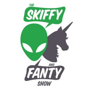 Skiffy and Fanty Show Logo comprising of a green alien and a grey unicorn
