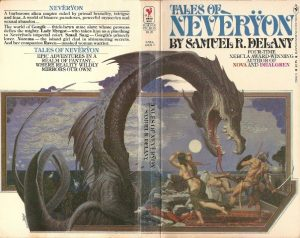 The image shows the original cover of Damuel R. Delay's novel 'Tales of Neveryon'. It is a double spread across the front and back of the book. On the back the body and tail of a dark grey Dragon takes up most of the page, its neck arches across the spine of the book and its head is the centre of the front cover. its maw is open and pointing down. Hanging over a group of fleeing sailors - all of whom are sparsley dressed.