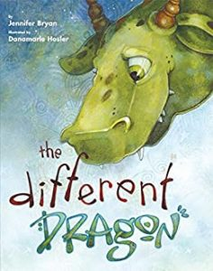 The image shows the cover of Jennifer Bryan's 'The Different Dragon. A friendly looking green dragons head dominates the right hand top cover of the cover. It has bronze horns and green eyes. The title 'The Different Dragon' is across the center of the cover at the bottom. The background is a blend of blues and green.