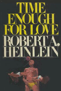 Image shows cover of Robert A. Heinlein 's novel 'Time Enough for Love'. In the centre of a black cover is a clay coloured adrogyne verging on masculine figure wearing a yellow paid of briefs. Morphing out of this body are two more feminine shapes - one on the left, one on the right- with white bikini tops on and brown hair on each head.