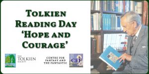 Banner Image of the Title for the Tolkien Reading Day and JRR Tolkien Image