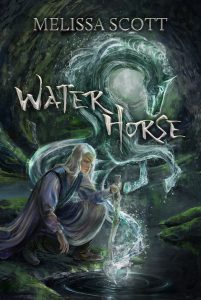 The image shows the cover of Melissa Scott's novel Water Horse. In the fore center of the image is a figure with long silver blond hair looking into a pool of water into which they have a staff dipped. They are wearing long flowing silver purple garments, and an eye patch over their left eye. Our of the water there is a creature swirling upward, it is made of water and in the shape of horse mid rear, fore hooves raised. The background is that of a murky woodland glade.