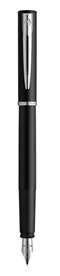 Image of a sleek black fountain pen standing vertically. The pen has a sharp silver nib, a silver band around the midsection, and a silver clip at the top.