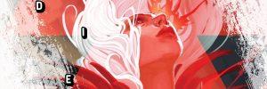 DIE image of girl, pink/red hues
