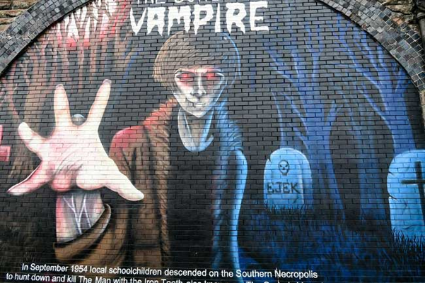 Graffiti Mural of the Gorbals Vampire from the Gorbals in Glasgow