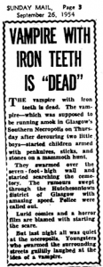 Image of a Newspaper clipping about the Gorbals Vampire