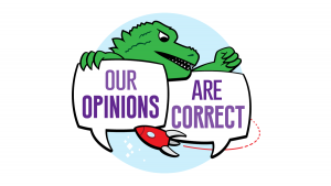Our Opinions Are Correct Logo- two speech bubbles held by a monster with a rocketship in front