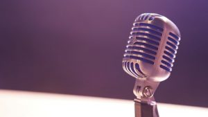 Condenser microphone on dark background
